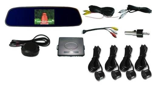 Parking sensors with display built-in mirror